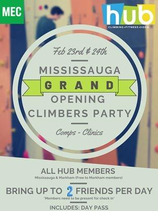 grand opening poster hub climbing Mississauga