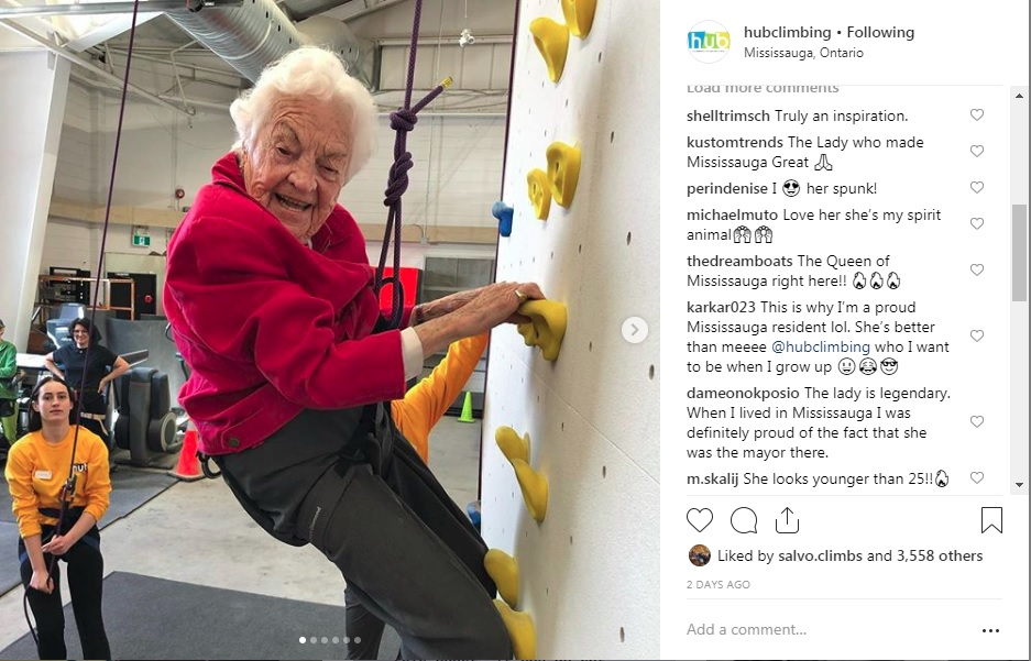 Mayor Hazel climbing a wall at Hub Climbing
