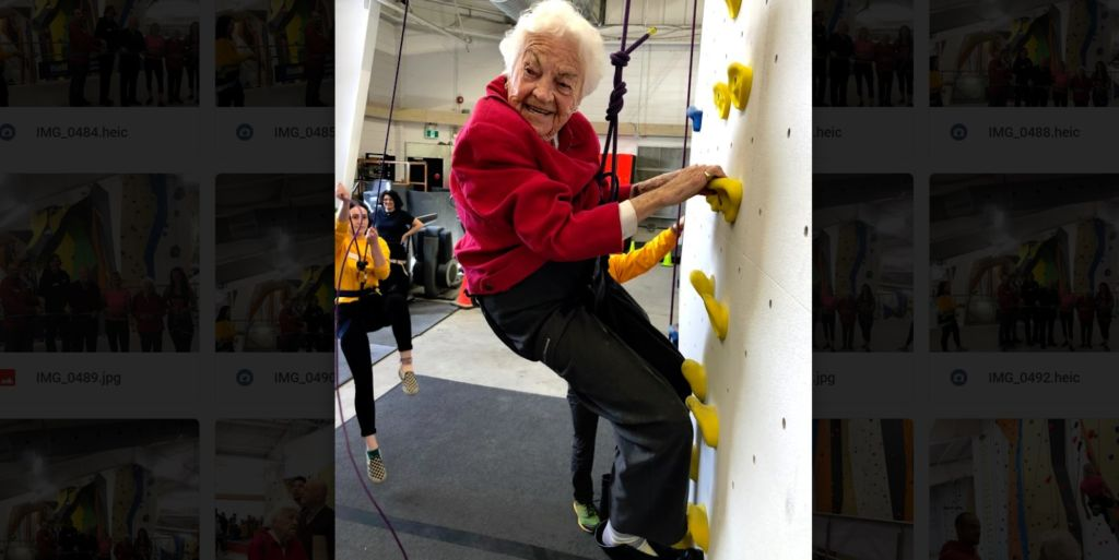 Here's the next picture in the series of Hazel McCallion rock climbing in our Mississauga gym