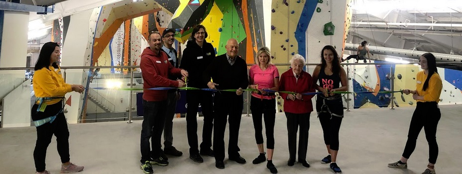 The view from the upstairs lounge during the ribbon cutting at Hub Climbing, Mississauga.
