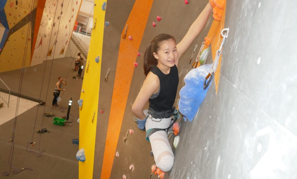 Sydney Park on the lead climbing wall, Bouldering Champion, Group B