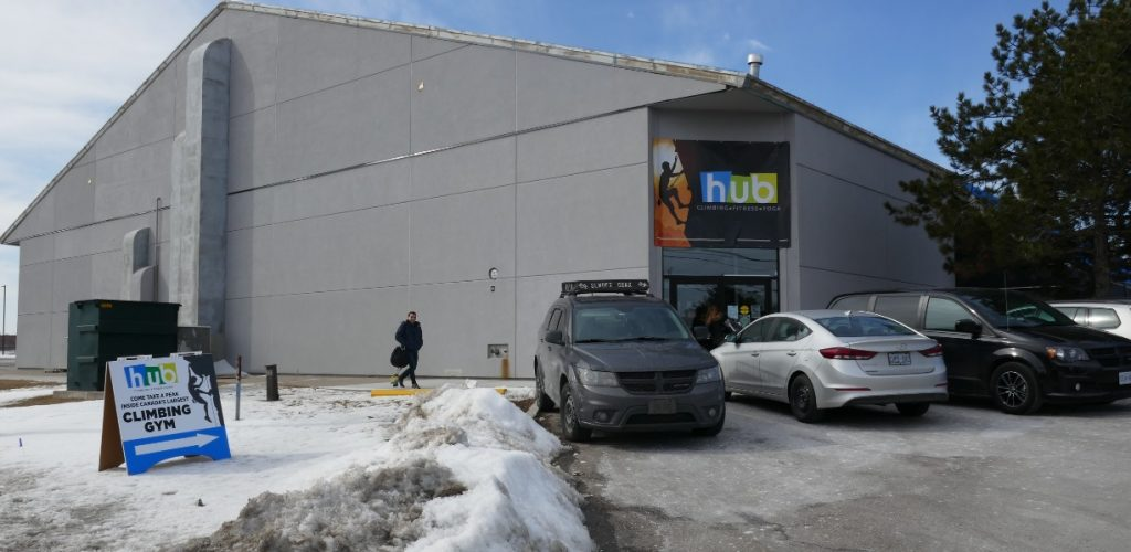 exterior front entrance of Hub Climbing Mississauga