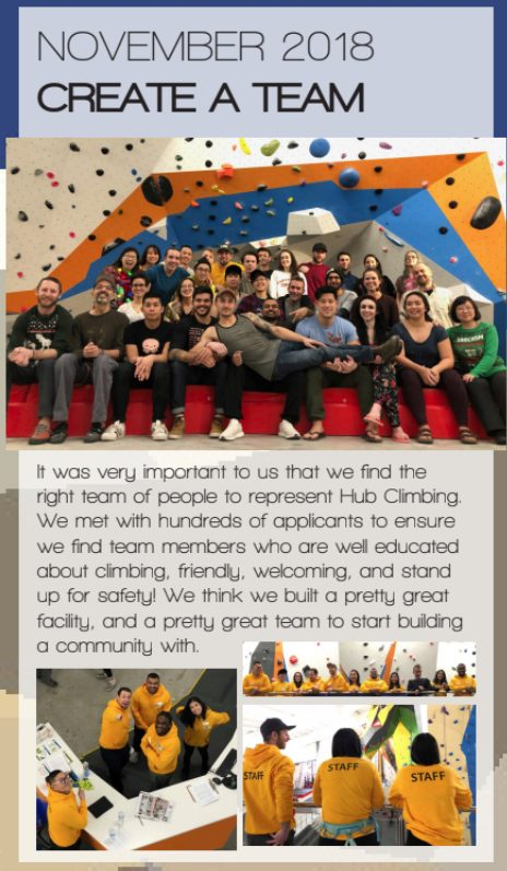 It was very important to us that we find the right team of people to represent Hub Climbing. We met with hundreds of applicants to ensure we find team members who are well educated about climbing, friendly, welcoming, and stand up for safety! We think we built a pretty great facility, and a pretty great team to start building