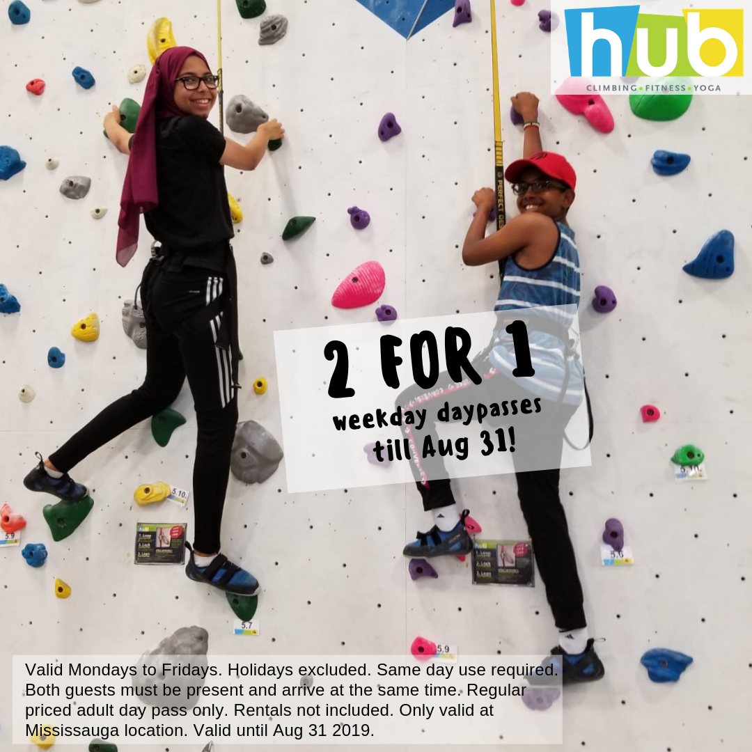 Start Your Climbing Adventure Today at Hub Climbing, Canada's LARGEST Climbing Gym, right here in Mississauga! 🧗‍♂🧗‍♀ Whether you are a beginner or expert climber. Play exciting games on our video game wall 👾, and race your friend up the speed wall ⏱! Or if you are really daring Climb our 49 foot tall pet dragon 🐉 It's up to you to decide what you'll climb in our 30,500 sq. ft facility 💪🏼 • Valid Monday - Friday, holidays excluded. Adult regular price day passes only. Rental gear not included. Both climbers must be present at the same time. Same day use required. Mississauga location only. Valid until August 31, 2019. •